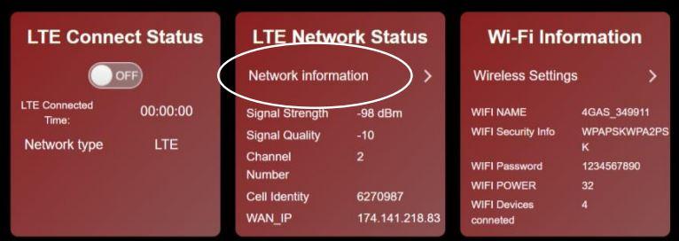 Network Status Screenshot