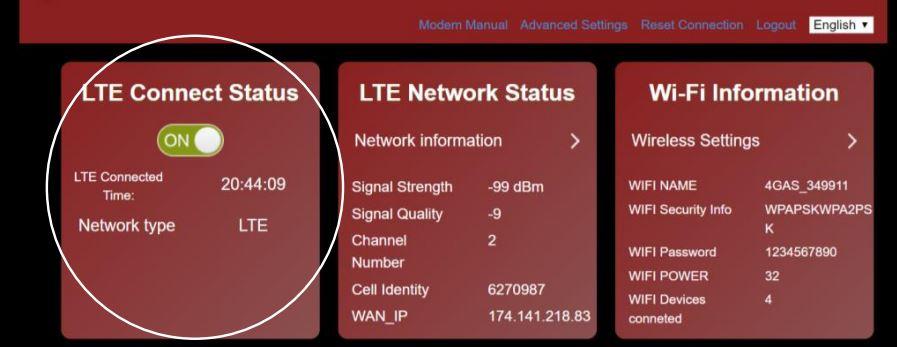 Connect Status Screenshot